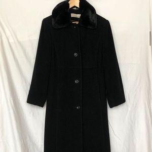 🍊utex long wool fur collar coat